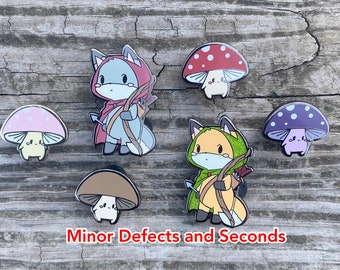 SALE Minor Defects and Seconds RPG Archer Fox Hard Enamel Pin and Mushroom Mini Pins