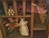 Small Prim Shadow Box,Vintage Corn Husk Doll, Dried Flowers, Beans
