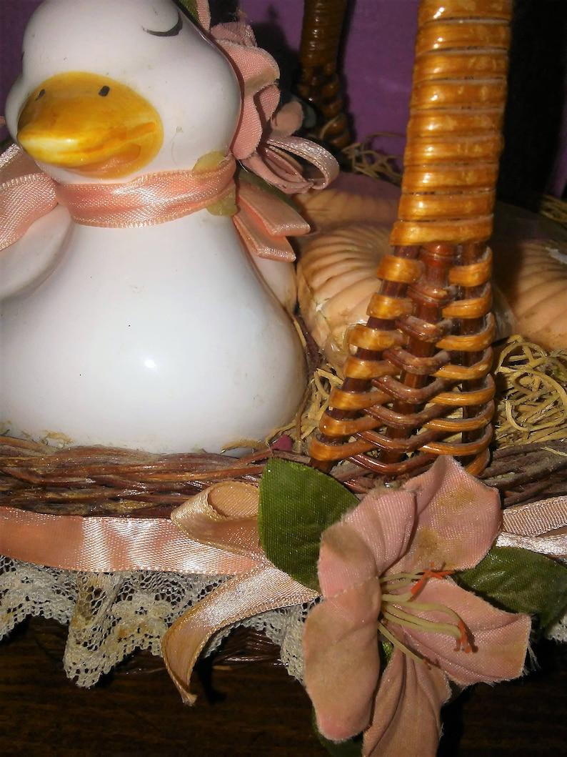 4 Soaps In Wicker Basket Vintage Guest Soaps Ceramic Duck