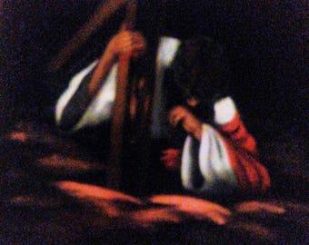Christ Holding The Cross, Velvet Painting, Jesus And The Cross