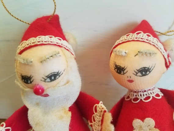 Vintage Mr And Mrs Claus Hanging Ornaments Flocked Etsy