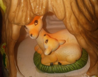 Vintage Doe and Fawn In Stump TV Lamp, Accent Lighting Lamp