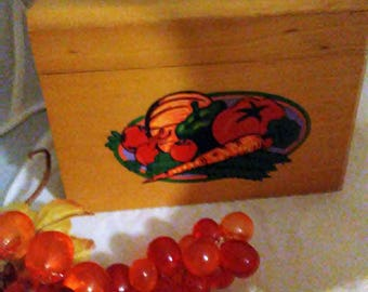 Wooden Recipe Box With Divider Cards, Vegetable Decal on Front