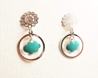 Hoops earrings, NUAGE, enameled brass, cloud, festooned cabochon, silver platted brass, turquoise, silver