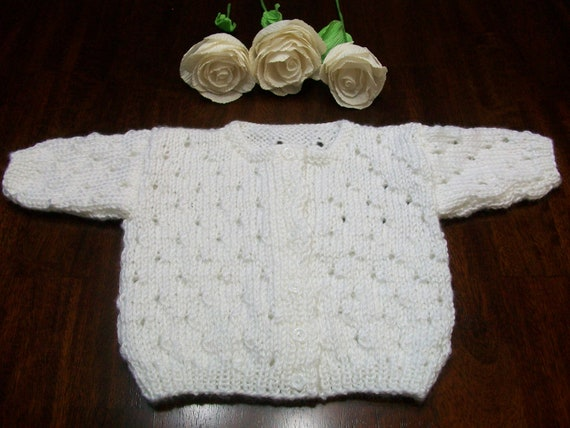 9d825fafdc8e White Baby Cardigan White Baby Sweater White Baby Top