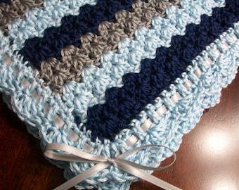 Gray Crochet Baby Blanket, Blue Crochet Baby Afghan, Navy Blue Handmade Baby Blanket, Blue Baby Blanket, Blue and Gray Newborn Blanket