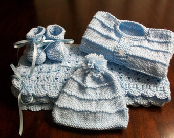 Baby blanket set Blue Baby Afghan, Blue Baby Blanket, Baby Afghan, Newborn Blanket, Baby Hospital Blanket, Blue Baby Beanie and Booties