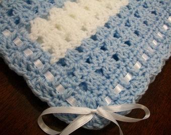Blue Crochet Baby Blanket, Blue Crochet Baby Afghan, Blue Handmade Baby Blanket, Blue Baby Blanket, Blue and White Baby Blanket