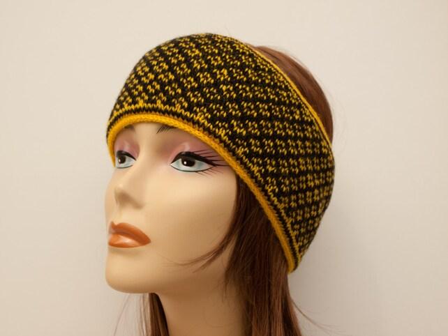 Fair Isle Winter Ski Headband Wool Angora Yellow And Black Etsy