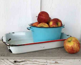 Vintage Red and White Enamel Casserole Dish, French Enamelware, Refrigerator Dish, Red and White Enamelware, Casserole Dish, Oblong Dish