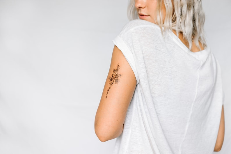 2 Dainty Wildflower Temporary Tattoos SmashTat image 0