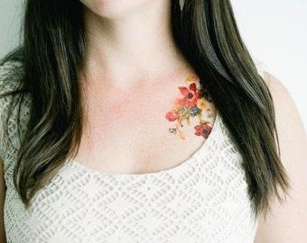 2 Vintage Flower Temporary Tattoos- SmashTat