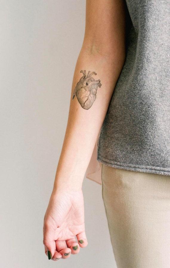 2 Anatomical Heart Temporary Tattoos SmashTat | Etsy