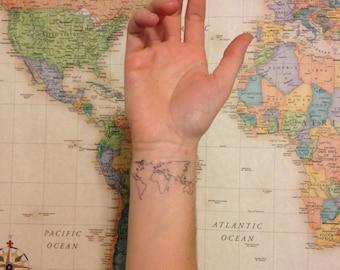 2 world map temporary tattoos smashtat