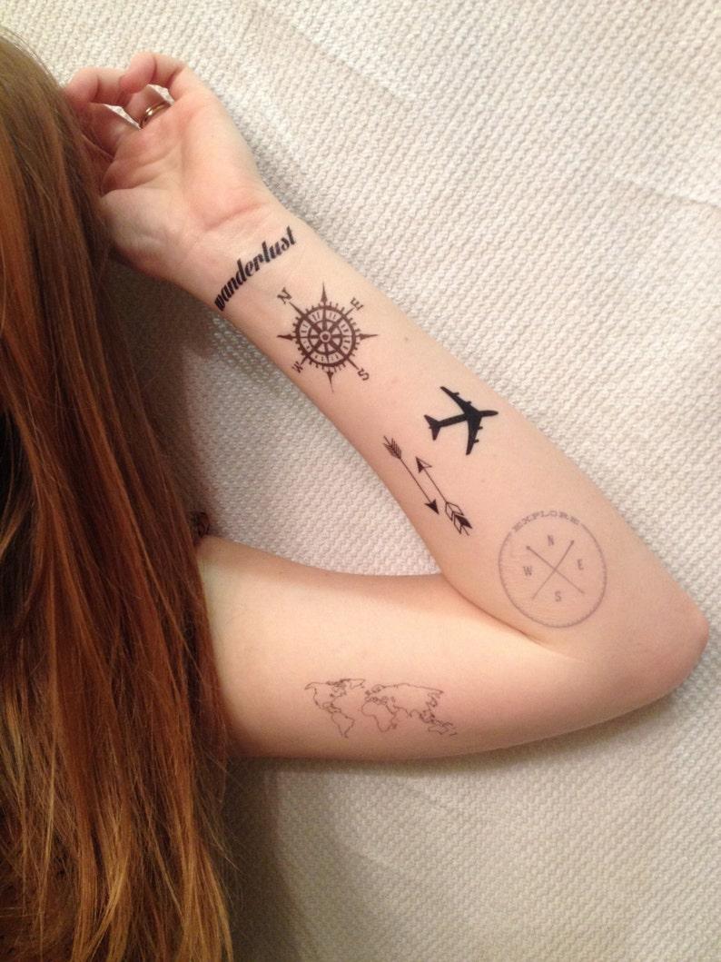 6 Travel Temporary Tattoos Pack  SmashTat image 0