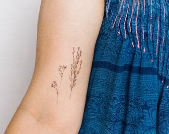 2 Thin Wildflower Temporary Tattoos- SmashTat