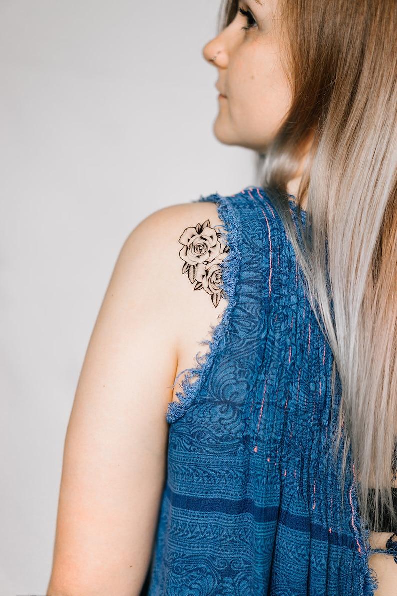2 Rose Temporary Tattoos SmashTat image 0