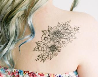 Large Wildflower Temporary Tattoo- SmashTat
