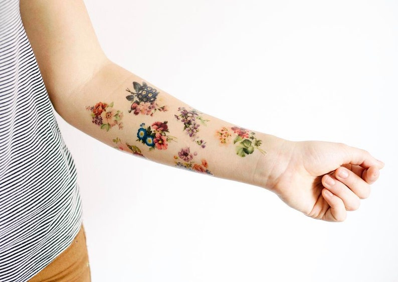 8 Floral Temporary Tattoos SmashTat image 0