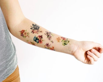 7 Floral Temporary Tattoos- SmashTat