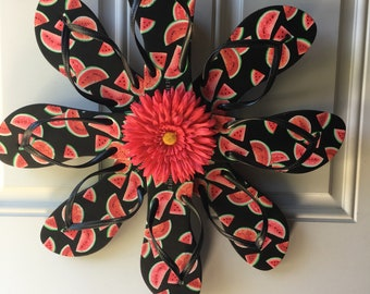 Watermelon flip flop wreath