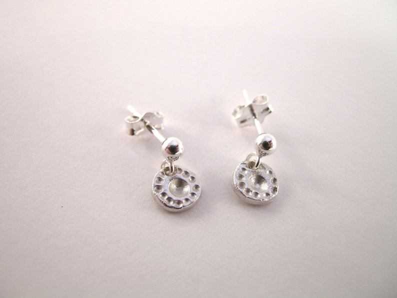 Sterling Silver and Fine Silver Tiny Silver Earrings Handmade Earrings