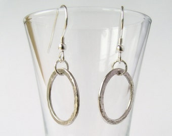 Sterling Silver Hoop Earrings - Hammered Silver - Small Hoops - Dangle Earrings - Handmade Earrings