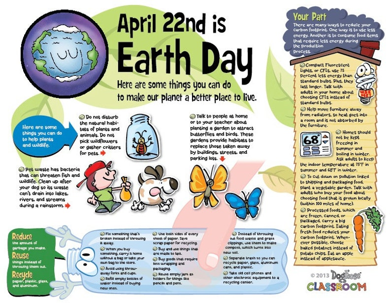 Earth Day infotoon classroom poster  pdf file