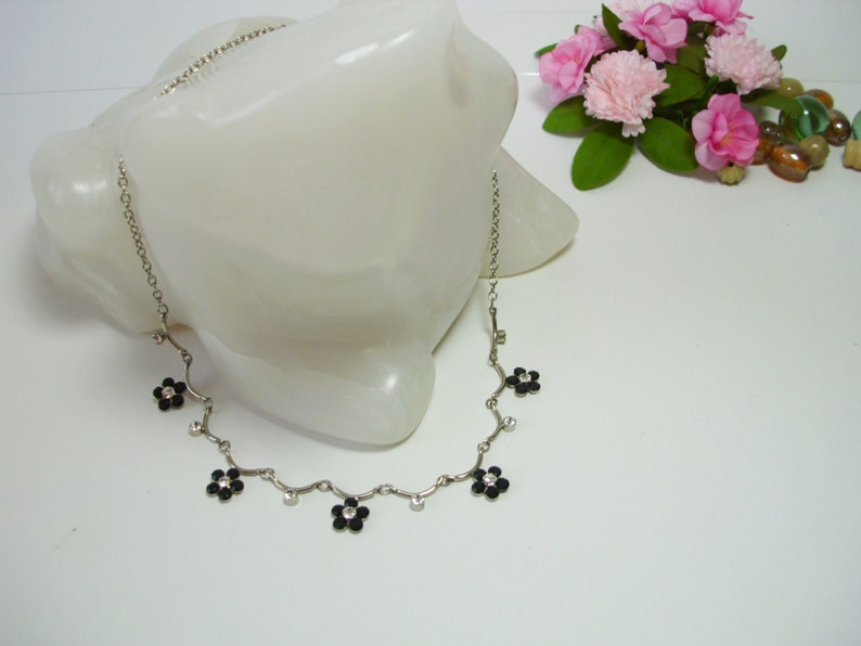 Vintage crystal necklace beaded necklace tiny necklace dainty necklace crystal jewelry tiny vintage jewelry tiny jewelry gift young girl
