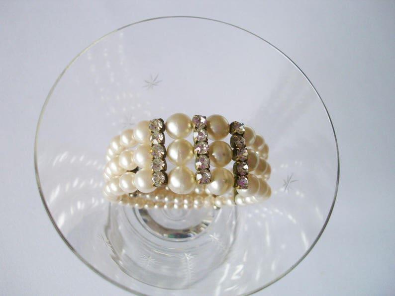 Vintage 1950s cuff bracelet unique pearl rhinestone cuff bracelet art deco gatsby cuff bracelet boho wedding old cuff bracelet gift for her
