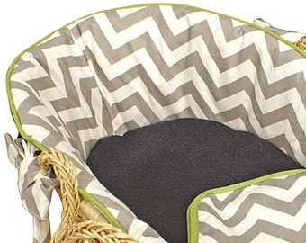 Chevron Grey/Navy/Lime Baby Moses Basket -Tailored Trim