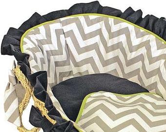 Chevron Grey/Navy/Lime Baby Moses Basket  -Ruffled Trim