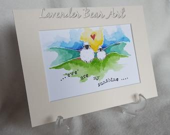"Sheep Original Watercolour, Whimsical, Cute and Fun...""Ewe are my Sunshine"" 1"