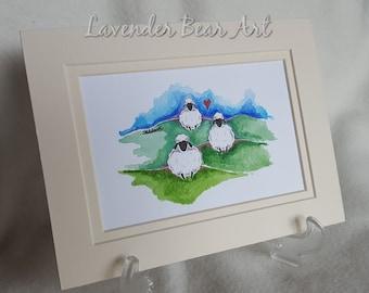 Sheep Original Watercolour, Whimsical, cute and fun