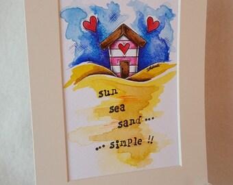 Beach Hut Original Watercolour...Whimsical, Cute and fun!