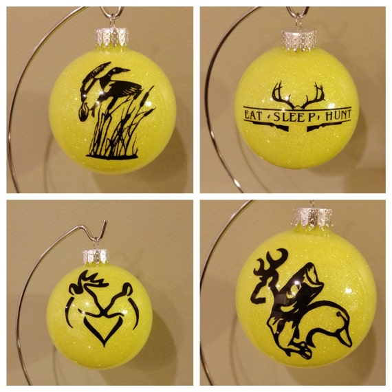 Glitter Glass Christmas Ornaments, Hunting and Fishing Ornaments, Hunting Deer ornaments, Fishing Bass X-mas Balls, Tree Decorations, Duck