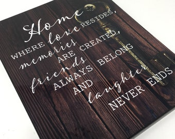 Home Decor Wood Sign, Home Is Where Love Resides, Memories Friends and Laughter, Family Wall Art, Housewarming Gift, Gift for Mom