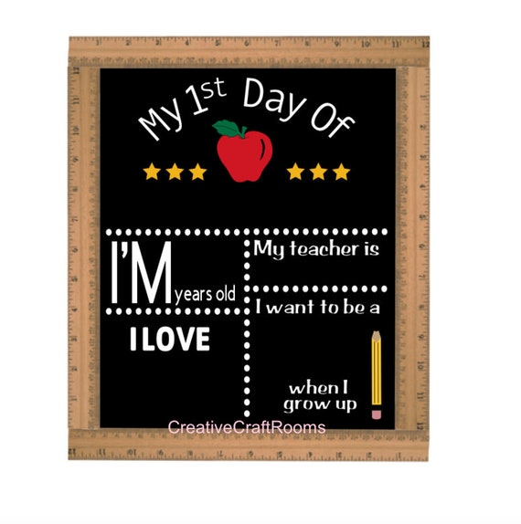 My First Day Of School Sign, Ruler Framed First Day of School Chalkboard, Reusable Chalk Sign, Back To School Sign, First Day Of School Sign