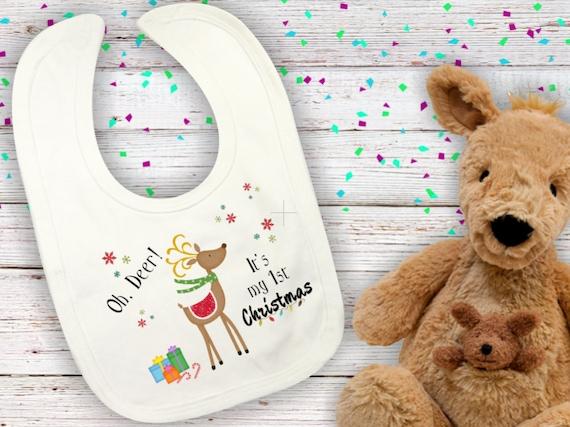 Baby bib, My first Christmas bib, Personalized baby bib, handmade baby bib, custom made baby bib, baby girl, boy