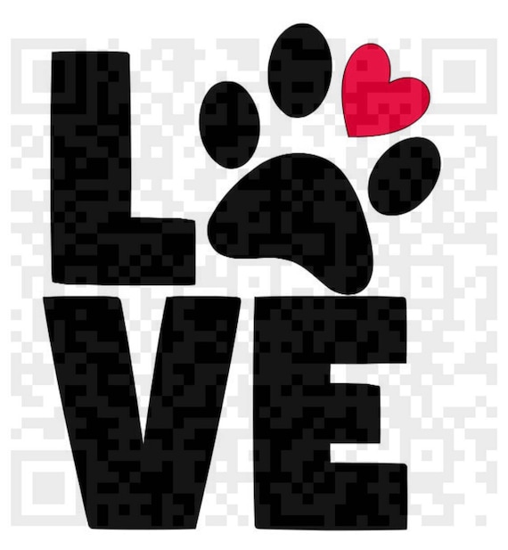 Love Paw Print PNG, Love PNG, Digital Cutting File, Cricut Print and Cut file, Love Print File, Paw Print Png