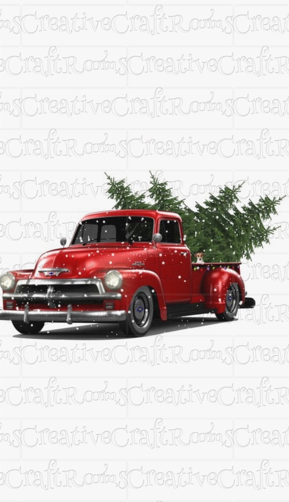 Red Truck Sublimation Design Download, Truck, Png, Cricut Png, Sublimation download, Sublimation designs, Red Christmas tree truck clipart