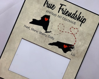 True Friendship Knows No Distance Frame, True Friendship Frame, Moving away  frame, Friendship quote, Leaving state quote, Relocation gift