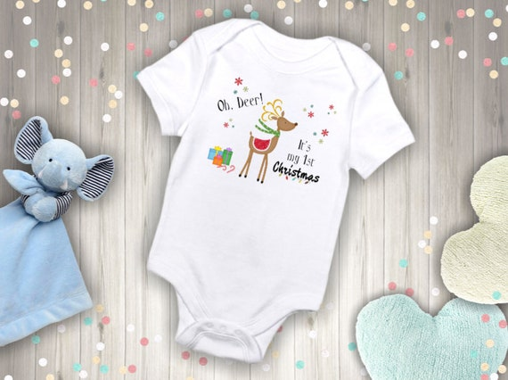 My First Christmas bodysuit, My first Christmas Onesie, Oh Deer Its my First Christmas Onesie, handmade baby Onsie, baby girl, boy