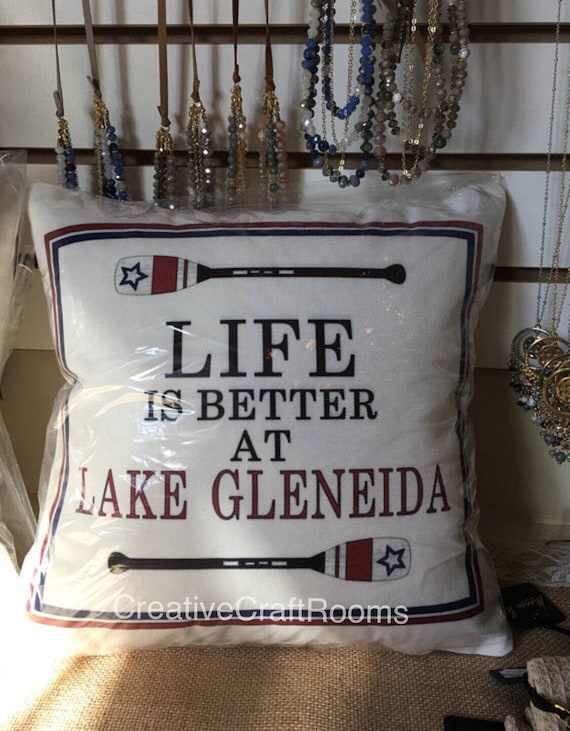 Personalized Lake Pillow, Life is better at the Lake, Lake Gleneida NY, Lake pillow, Lake quotes, Lake decor, Lake House, Housewarming, Boat