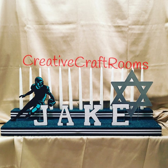 Bar Mitzvah Candelabra Centerpiece, Sports Theme Centerpiece, Personalized Mitzvah Candelabra, Football Centerpiece, Philadelphia Eagles