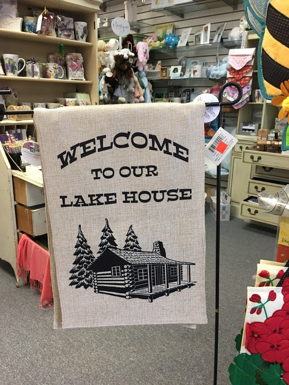 Welcome To Our Lake House Garden Flag, Personalized Lake House Garden Flag, Spring Welcome Garden Flag, Mothers Day Gift, Grandmother Gift
