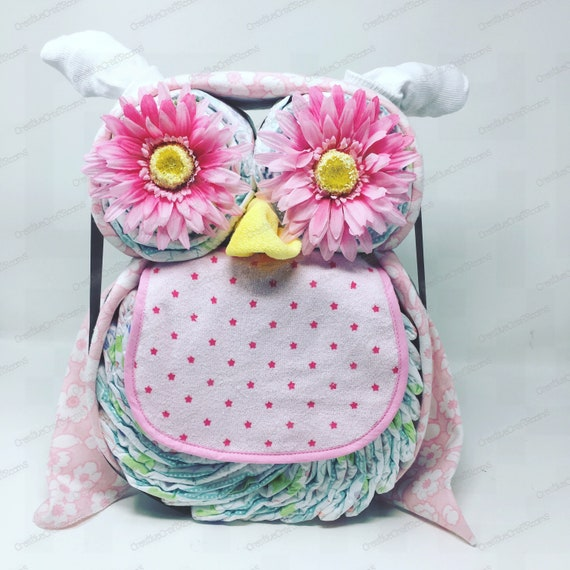 Newborn Baby Diaper Cake Owl, Diaper Cake Owl Baby Gift, Mom to be Diaper cake gift, Baby Shower Gift Centerpiece, Infant Diaper Cake, Pink