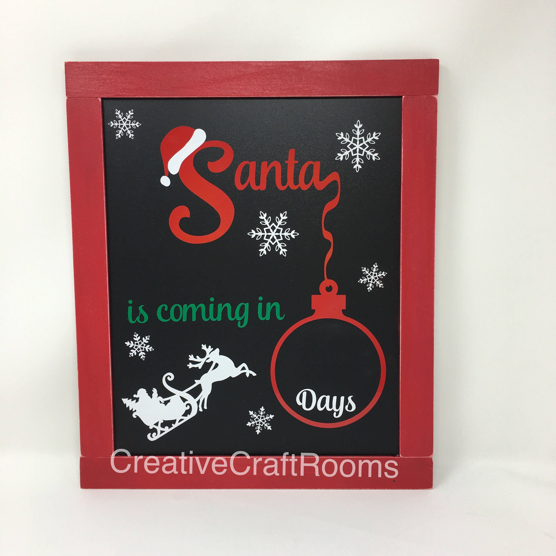 Countdown To Christmas Sign.Christmas Countdown Chalkboard Days Until Christmas Sign Christmas Countdown Sign Holiday Sign Christmas Sign Framed Santa Chalkboard