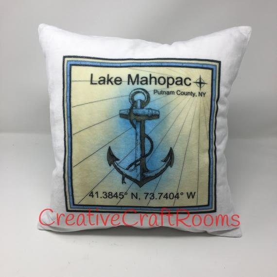 Personalized Home Latitude/Longitude Pillow cover, Lake Mahopac NY, Nautical Pillow, Wedding Pillow, Cushion Cover, Pillow Cover, New Home
