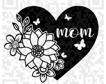 Mom Heart with flowers PNG and Svg, Mom Heart svg, Mom and flowers svg instant download